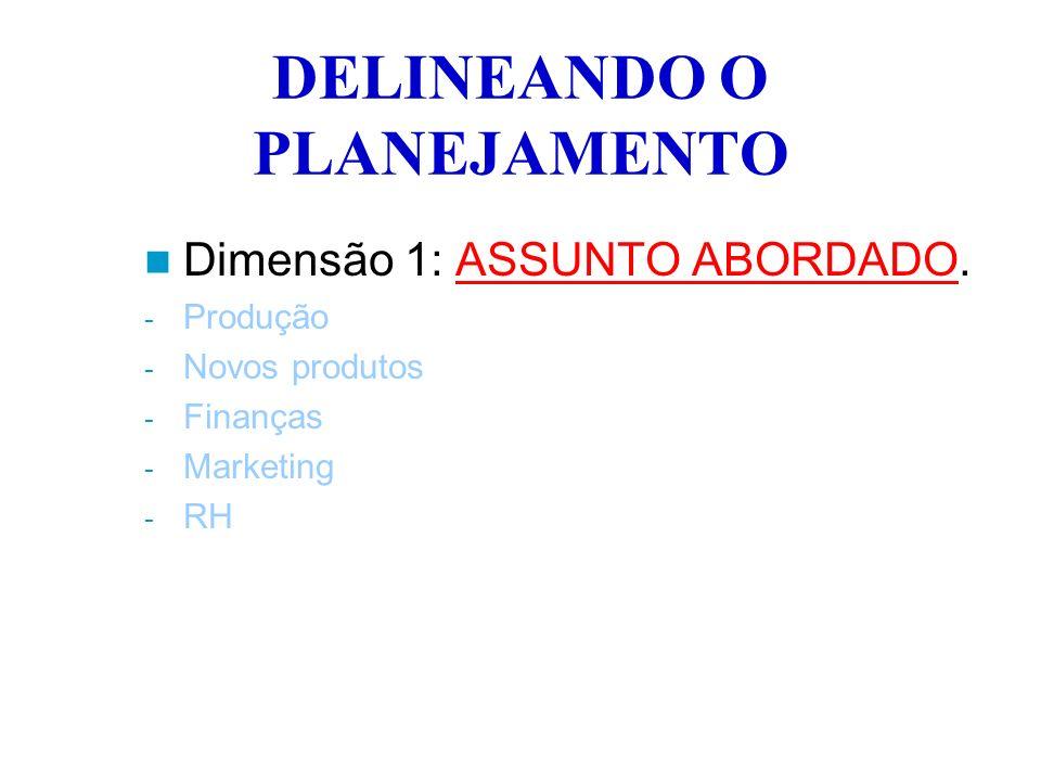 DELINEANDO O PLANEJAMENTO