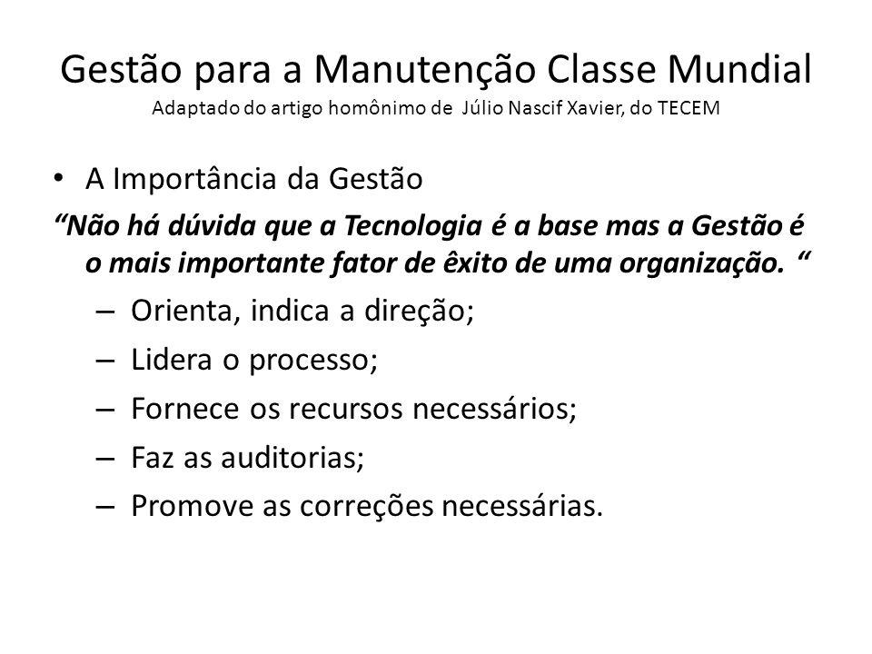 Gestão para a Manutenção Classe Mundial Adaptado do artigo homônimo de Júlio Nascif Xavier, do TECEM