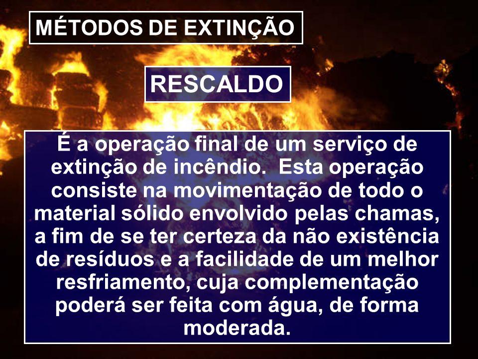 RESCALDO MÉTODOS DE EXTINÇÃO