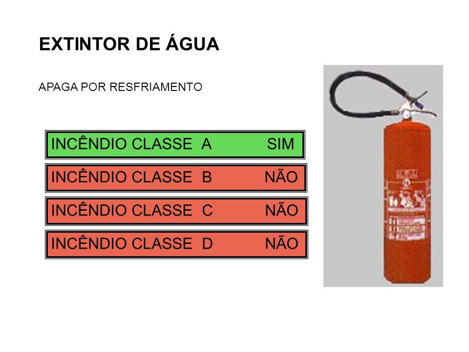 EXTINTOR DE ÁGUA INCÊNDIO CLASSE A SIM INCÊNDIO CLASSE B NÃO