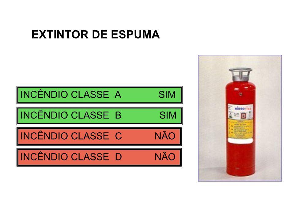 EXTINTOR DE ESPUMA INCÊNDIO CLASSE A SIM INCÊNDIO CLASSE B SIM