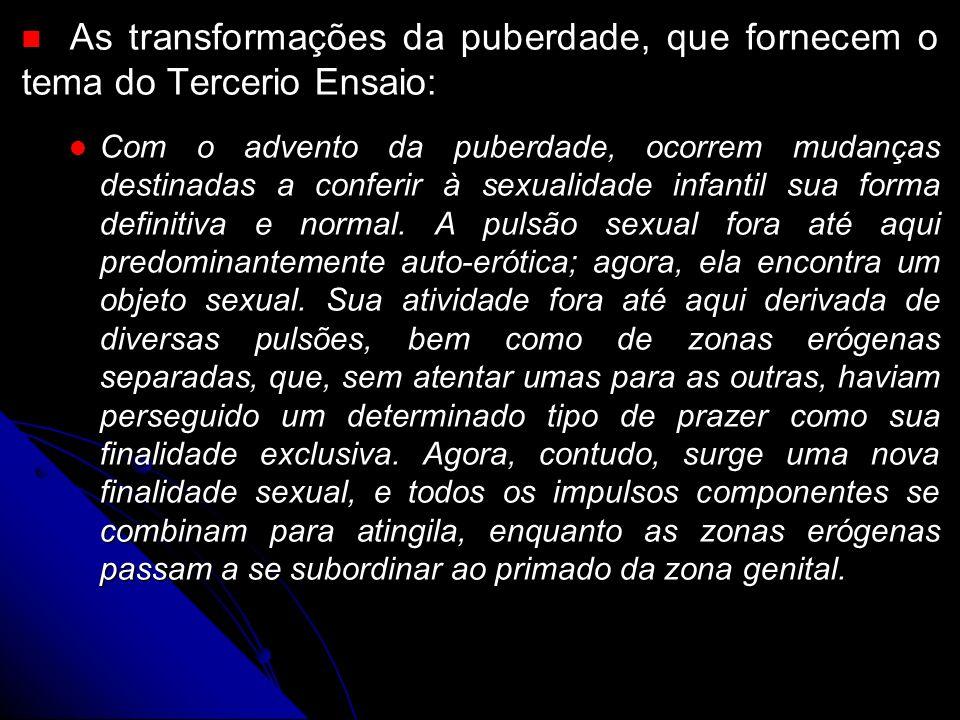 As transformações da puberdade, que fornecem o tema do Tercerio Ensaio: