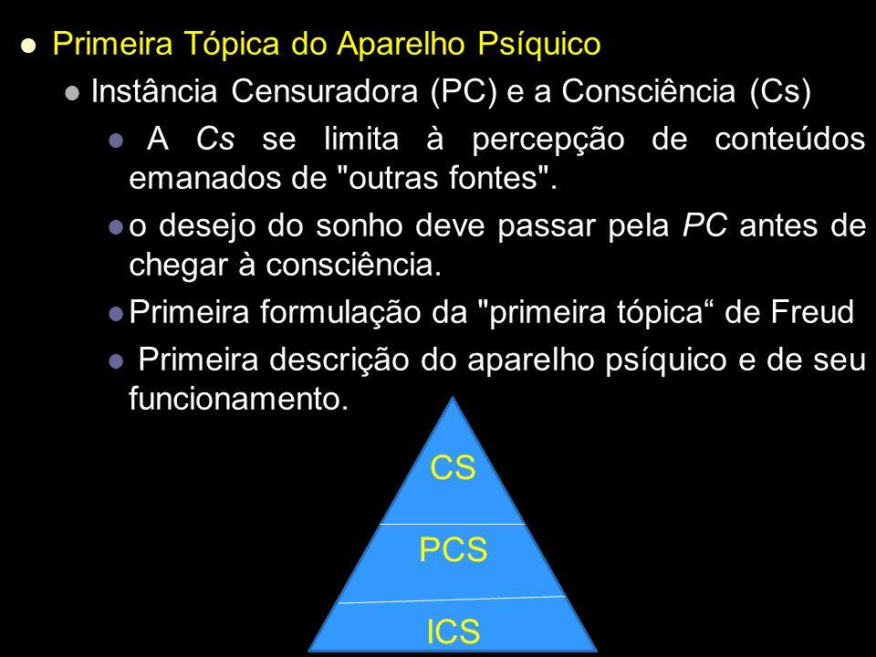 CS PCS ICS Primeira Tópica do Aparelho Psíquico