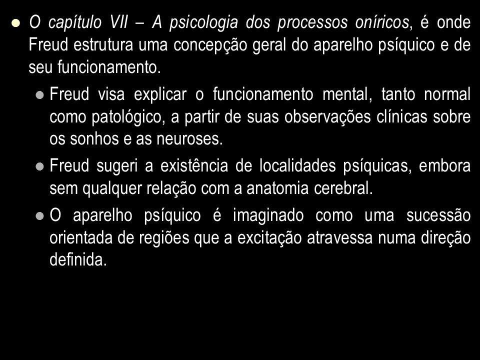 O capítulo VII – A psicologia dos processos oníricos, é onde Freud estrutura uma concepção geral do aparelho psíquico e de seu funcionamento.