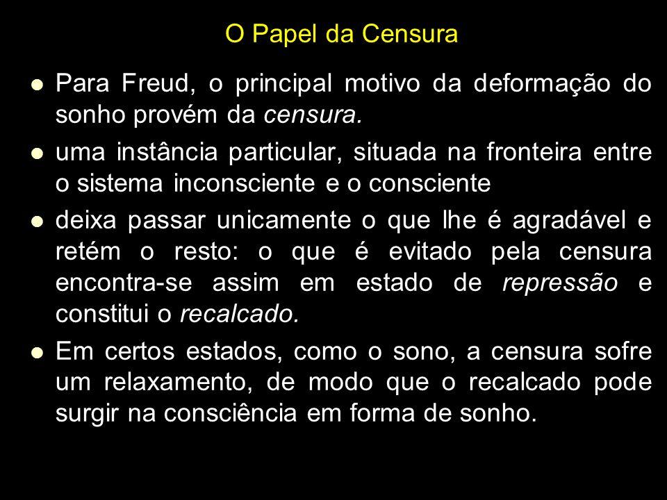 O Papel da Censura Para Freud, o principal motivo da deformação do sonho provém da censura.