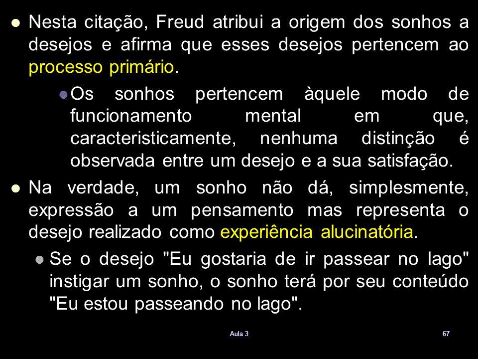 Nesta citação, Freud atribui a origem dos sonhos a desejos e afirma que esses desejos pertencem ao processo primário.