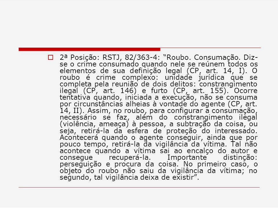 2ª Posição: RSTJ, 82/363-4: Roubo. Consumação