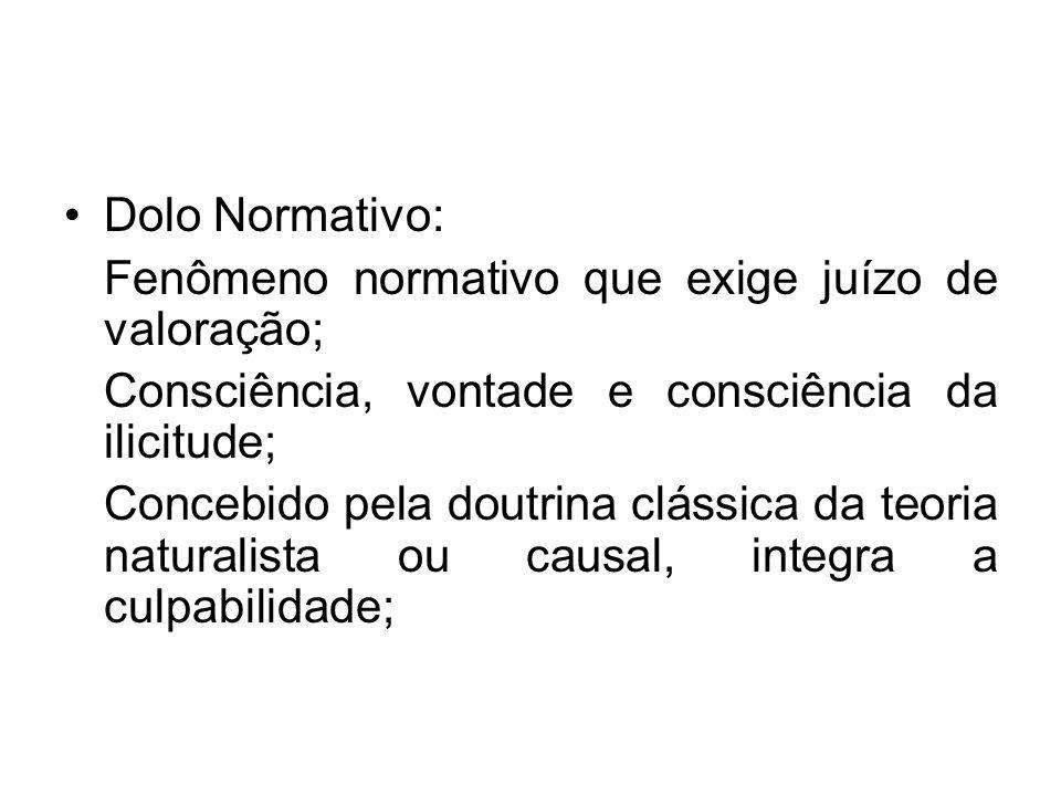 Dolo Normativo: Fenômeno normativo que exige juízo de valoração; Consciência, vontade e consciência da ilicitude;
