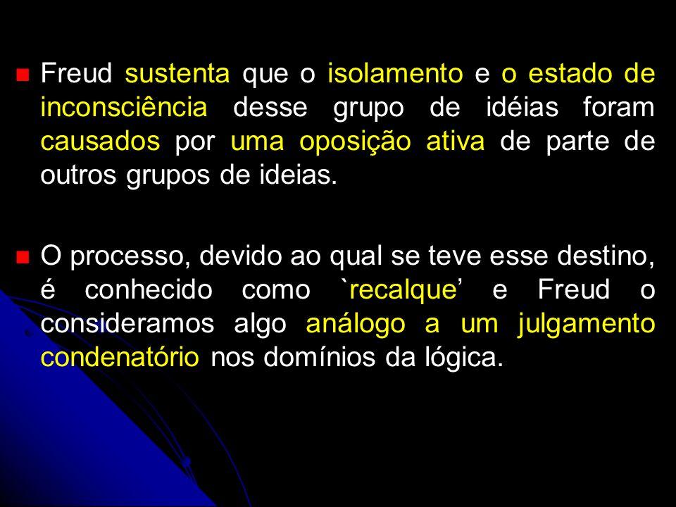 Freud sustenta que o isolamento e o estado de inconsciência desse grupo de idéias foram causados por uma oposição ativa de parte de outros grupos de ideias.