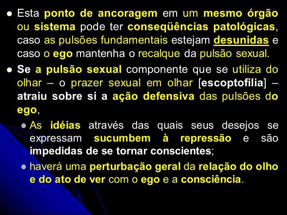 Esta ponto de ancoragem em um mesmo órgão ou sistema pode ter conseqüências patológicas, caso as pulsões fundamentais estejam desunidas e caso o ego mantenha o recalque da pulsão sexual.