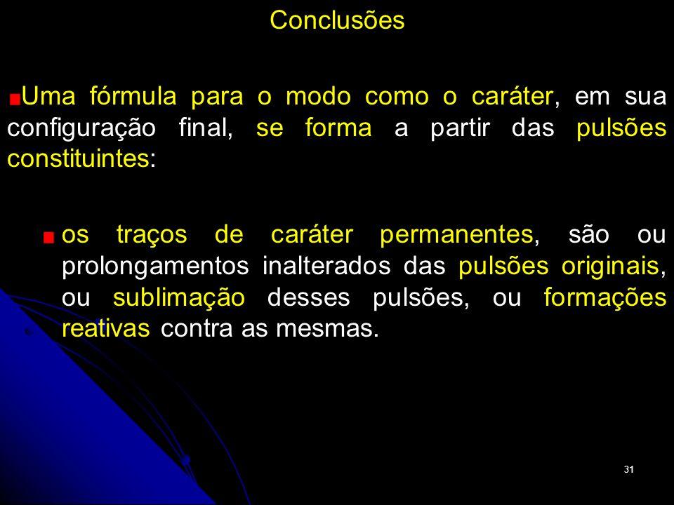 Conclusões Uma fórmula para o modo como o caráter, em sua configuração final, se forma a partir das pulsões constituintes: