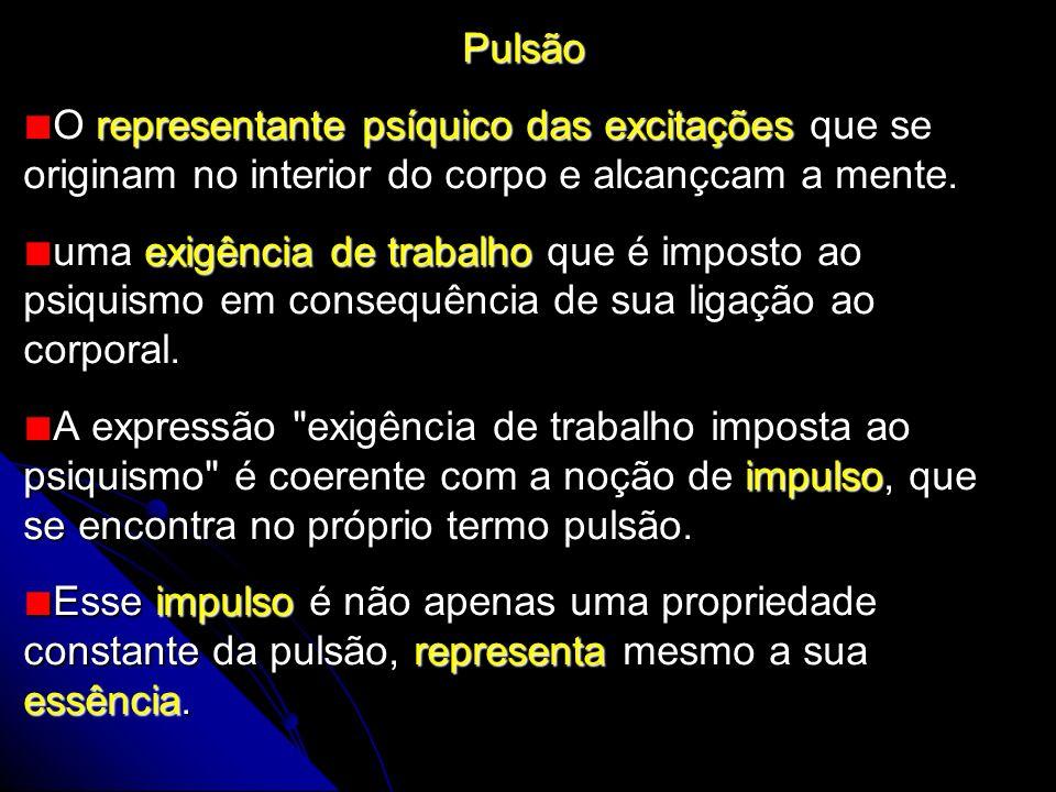 Pulsão O representante psíquico das excitações que se originam no interior do corpo e alcançcam a mente.