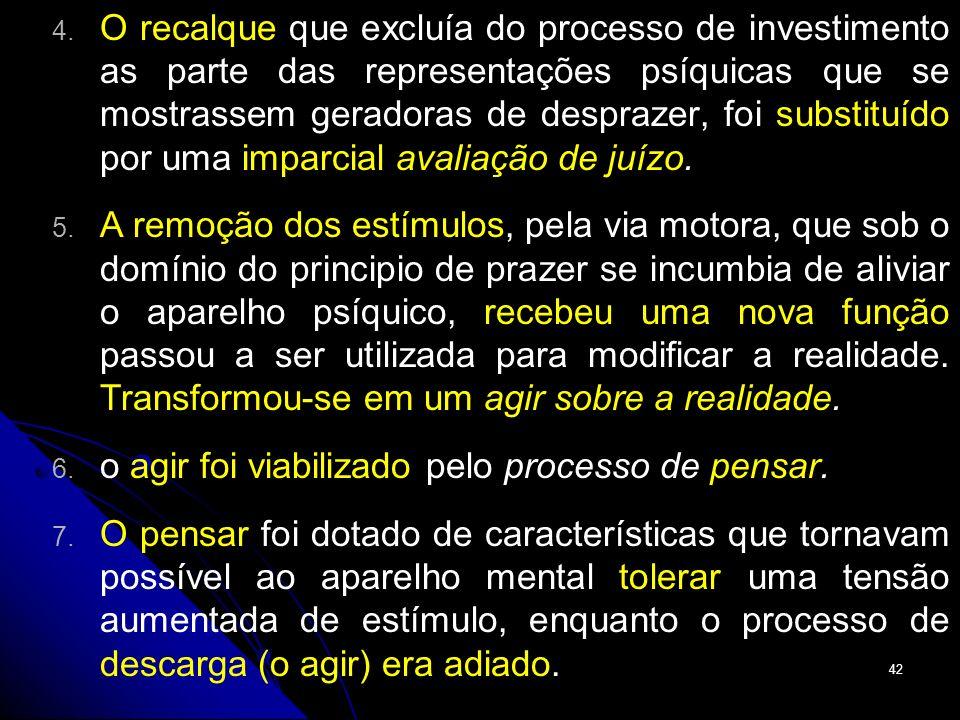 O recalque que excluía do processo de investimento as parte das representações psíquicas que se mostrassem geradoras de desprazer, foi substituído por uma imparcial avaliação de juízo.