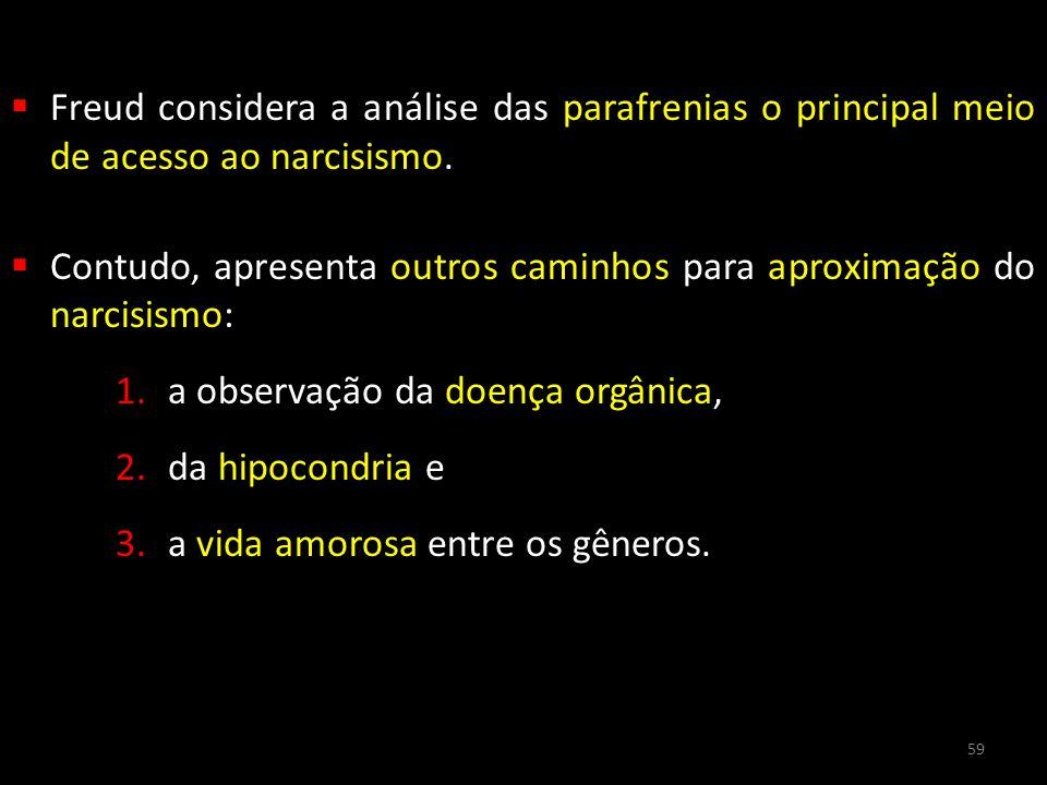 Freud considera a análise das parafrenias o principal meio de acesso ao narcisismo.