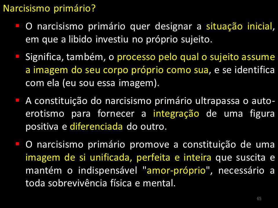 Narcisismo primário O narcisismo primário quer designar a situação inicial, em que a libido investiu no próprio sujeito.