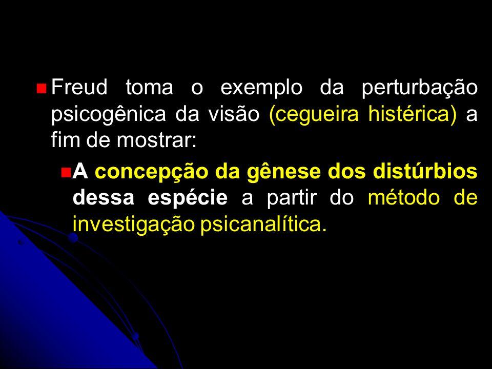 Freud toma o exemplo da perturbação psicogênica da visão (cegueira histérica) a fim de mostrar: