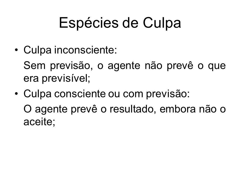 Espécies de Culpa Culpa inconsciente: