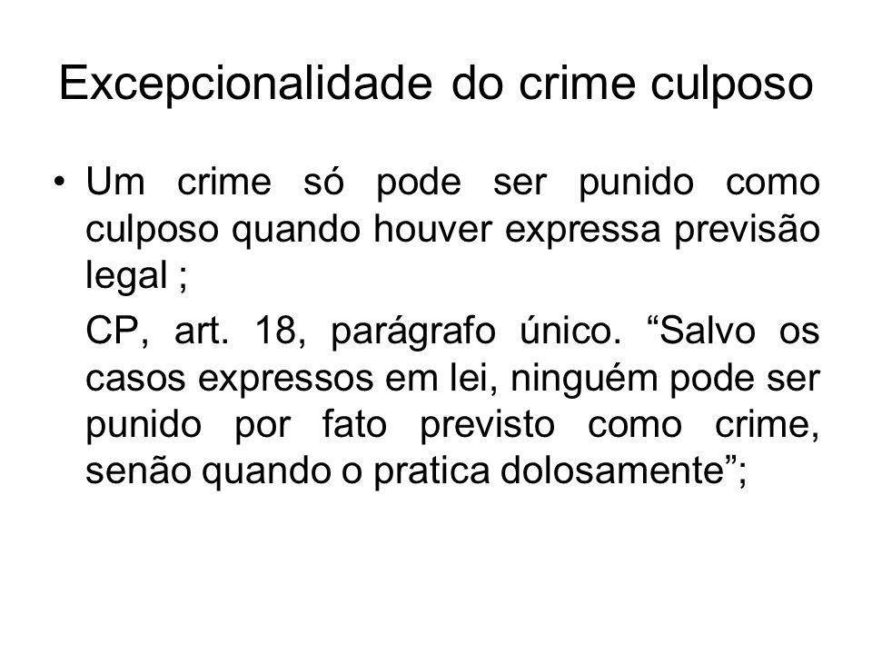 Excepcionalidade do crime culposo