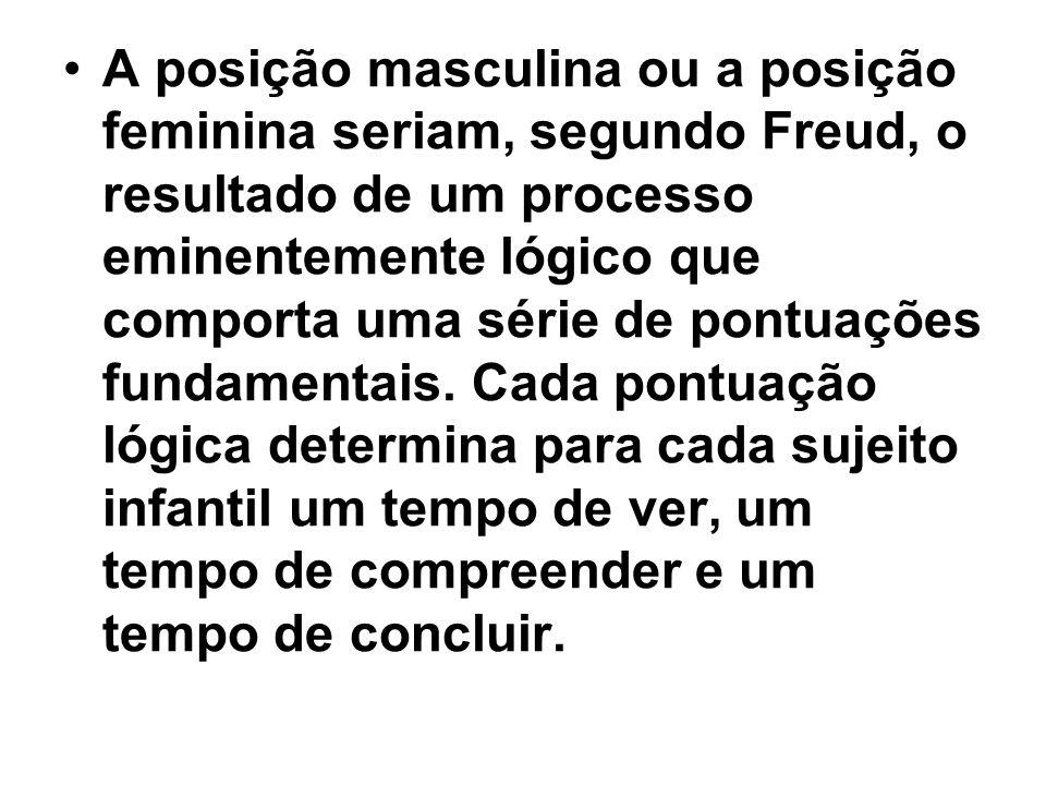 A posição masculina ou a posição feminina seriam, segundo Freud, o resultado de um processo eminentemente lógico que comporta uma série de pontuações fundamentais.