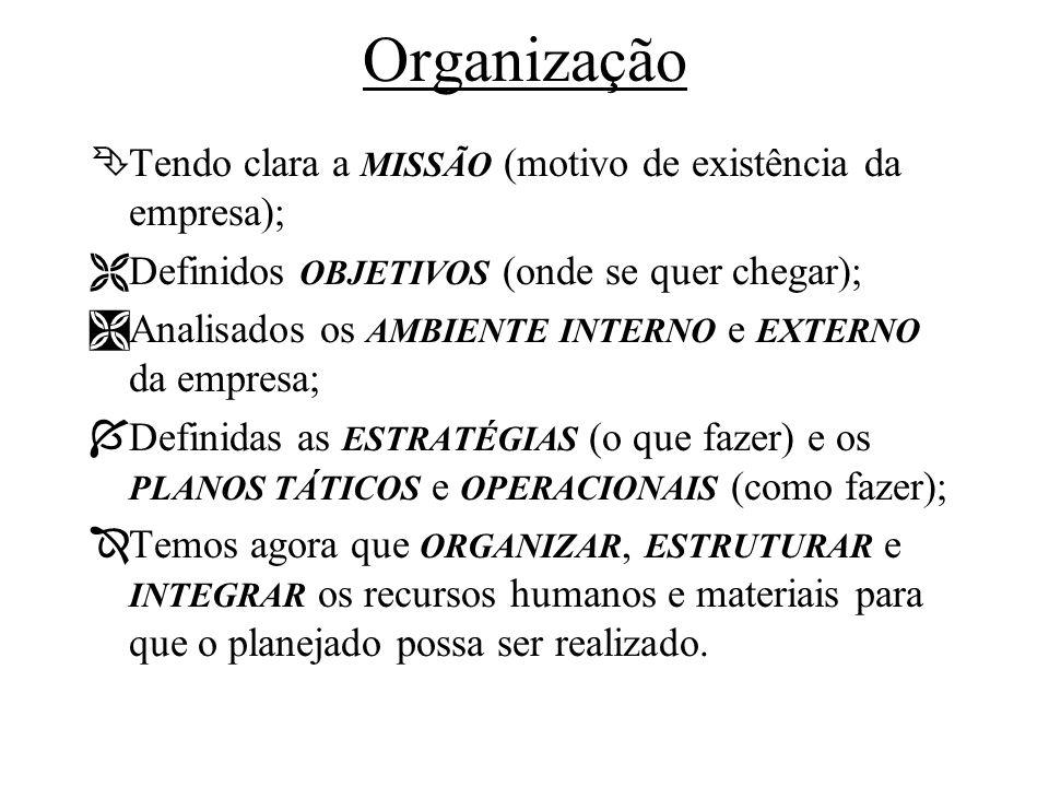 Organização Tendo clara a MISSÃO (motivo de existência da empresa);