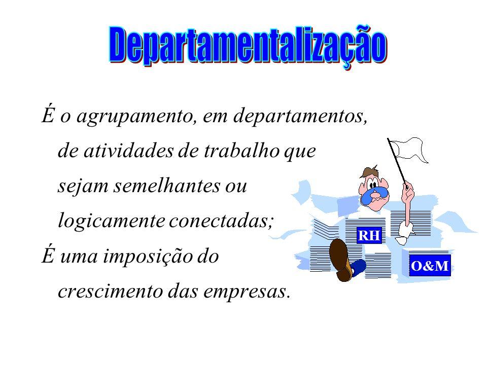 Departamentalização É o agrupamento, em departamentos,