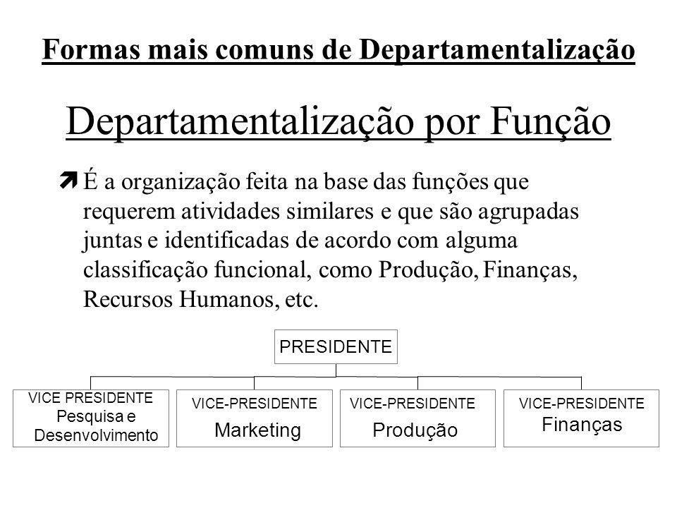 Formas mais comuns de Departamentalização