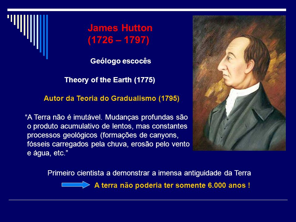 James Hutton (1726 – 1797) Geólogo escocês Theory of the Earth (1775)