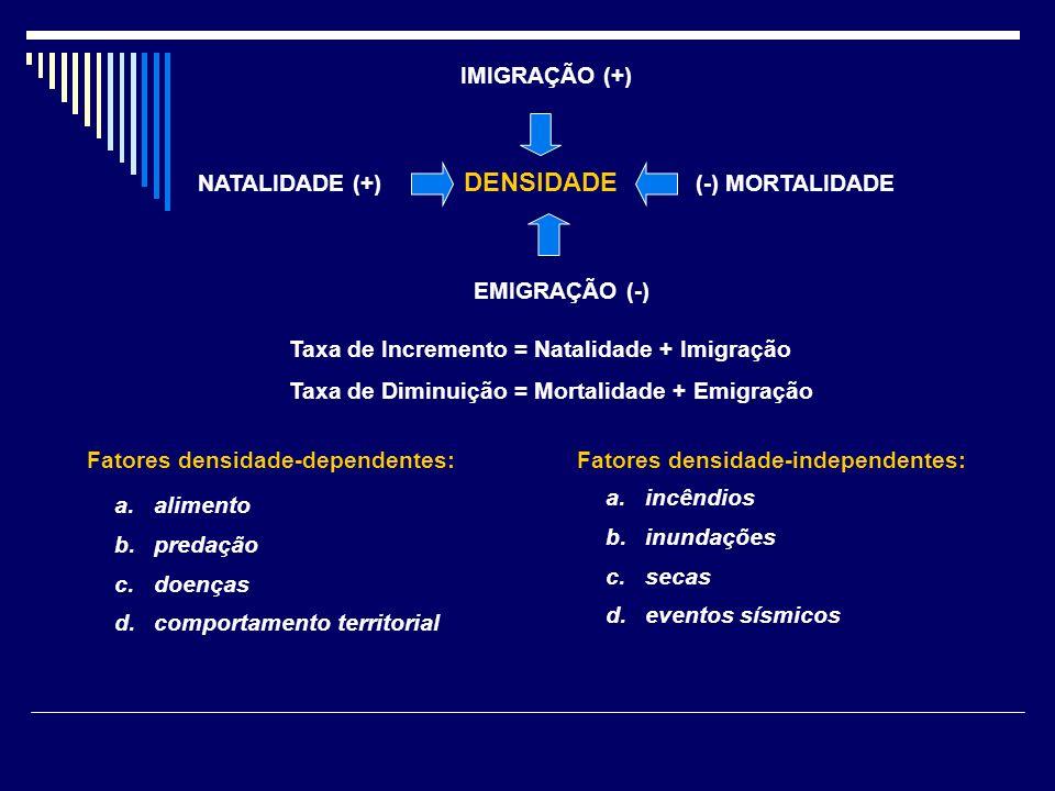 DENSIDADE IMIGRAÇÃO (+) NATALIDADE (+) (-) MORTALIDADE EMIGRAÇÃO (-)