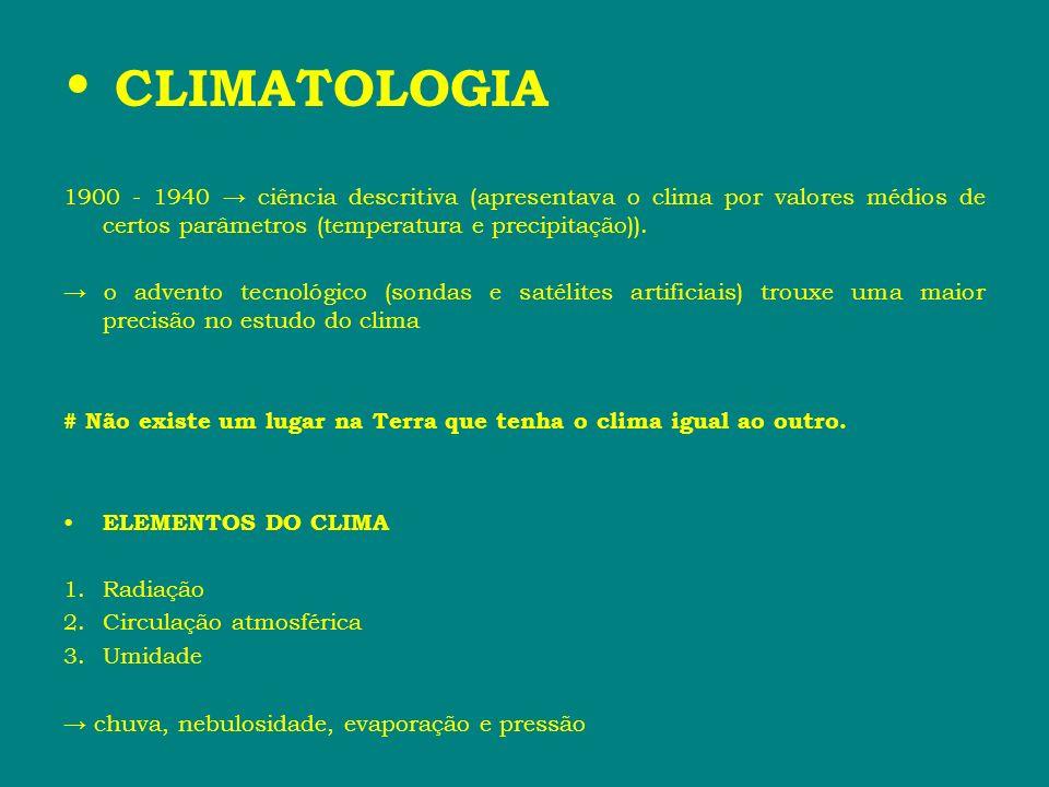 CLIMATOLOGIA 1900 - 1940 → ciência descritiva (apresentava o clima por valores médios de certos parâmetros (temperatura e precipitação)).