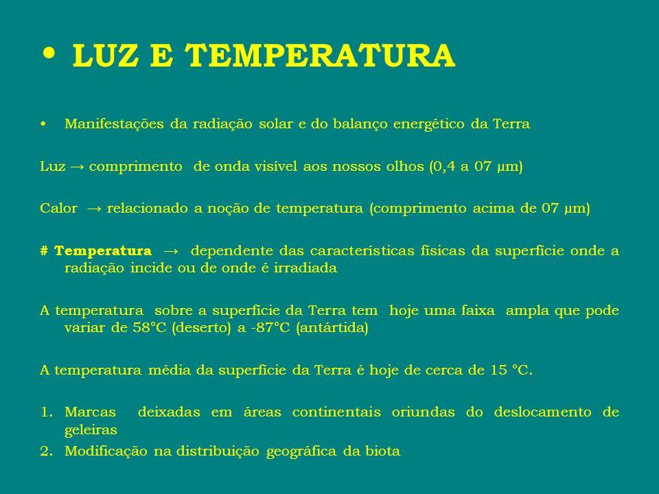 LUZ E TEMPERATURA Manifestações da radiação solar e do balanço energético da Terra.