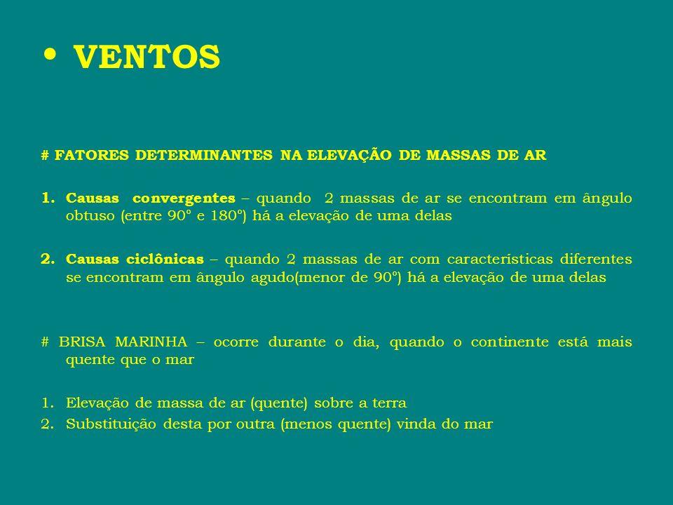 VENTOS # FATORES DETERMINANTES NA ELEVAÇÃO DE MASSAS DE AR