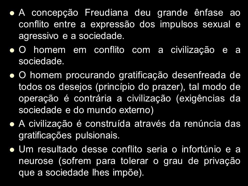A concepção Freudiana deu grande ênfase ao conflito entre a expressão dos impulsos sexual e agressivo e a sociedade.