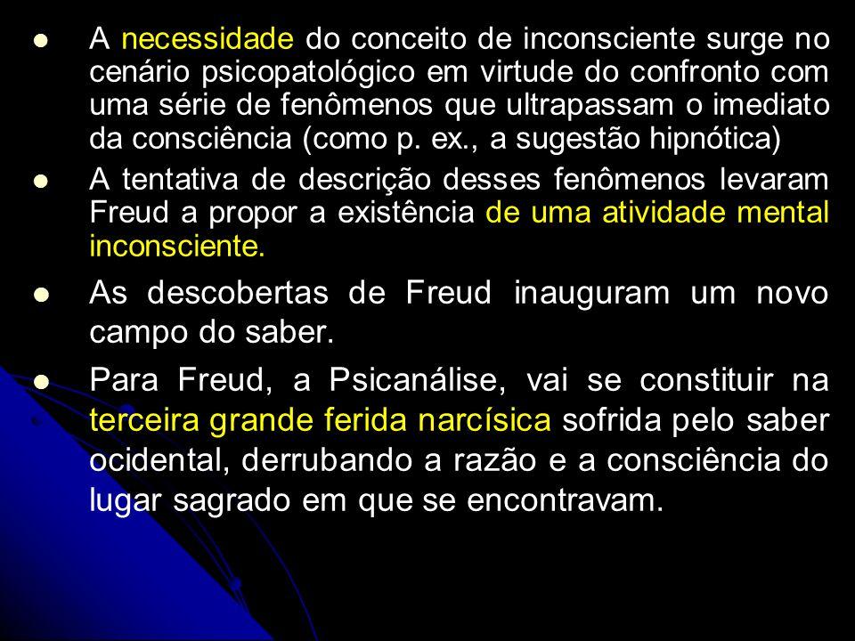 As descobertas de Freud inauguram um novo campo do saber.