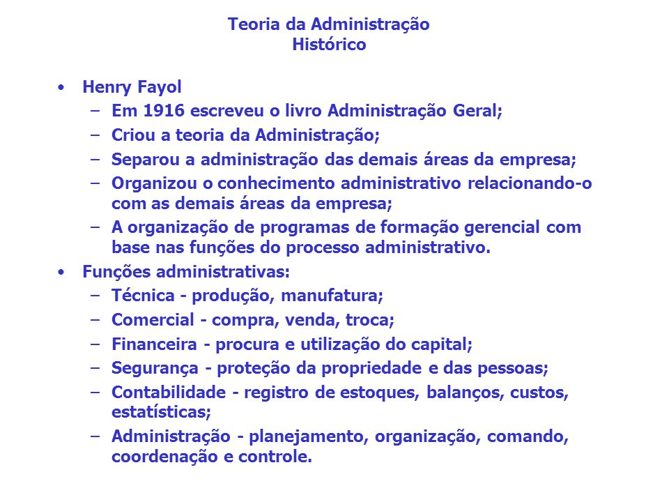 Teoria da Administração Histórico
