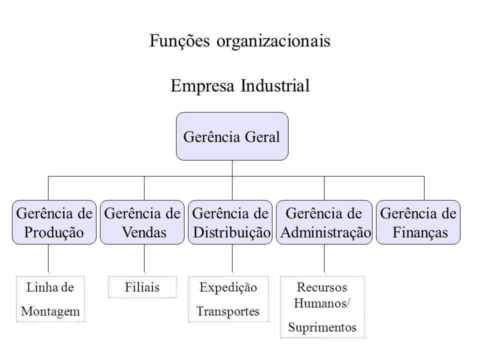 Funções organizacionais Empresa Industrial