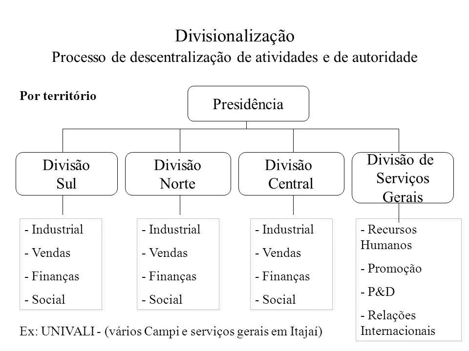 Divisionalização Processo de descentralização de atividades e de autoridade