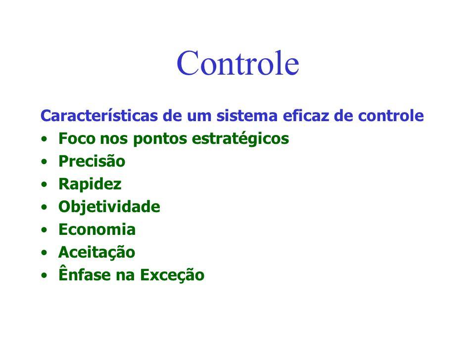 Controle Características de um sistema eficaz de controle