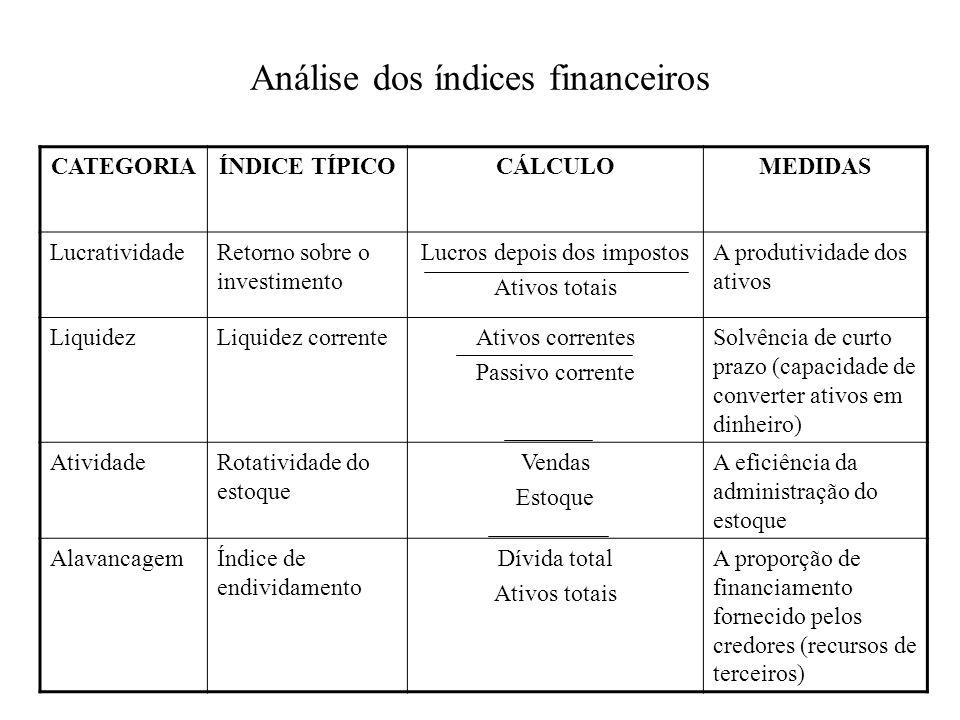 Análise dos índices financeiros