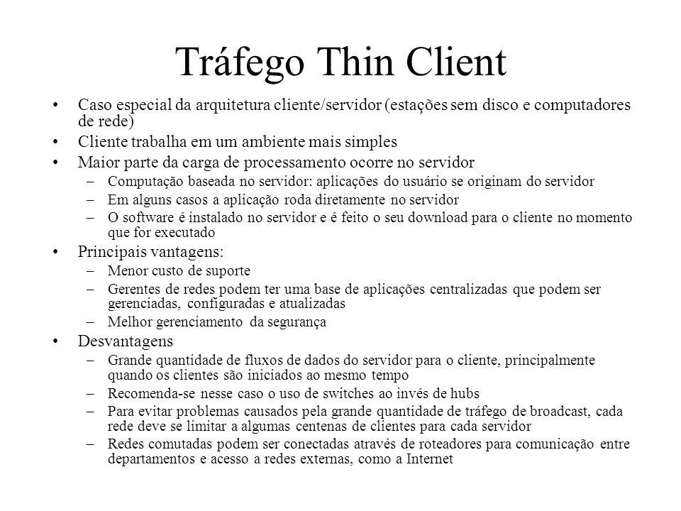 Tráfego Thin Client Caso especial da arquitetura cliente/servidor (estações sem disco e computadores de rede)