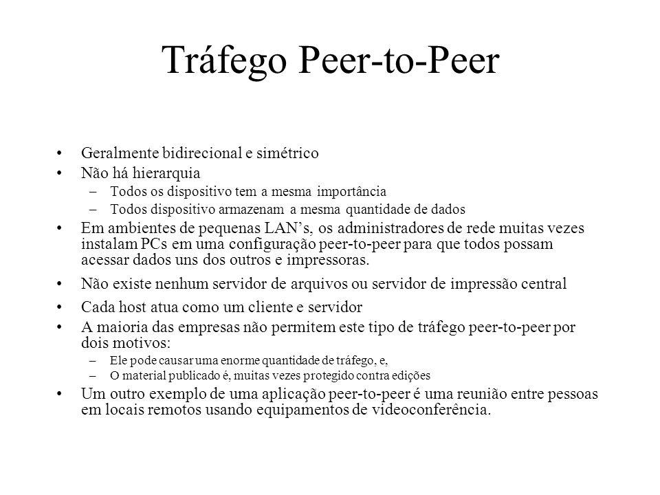 Tráfego Peer-to-Peer Geralmente bidirecional e simétrico