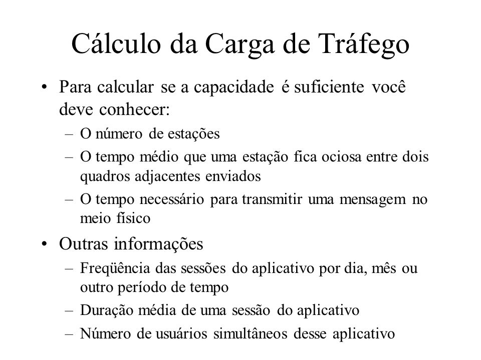 Cálculo da Carga de Tráfego