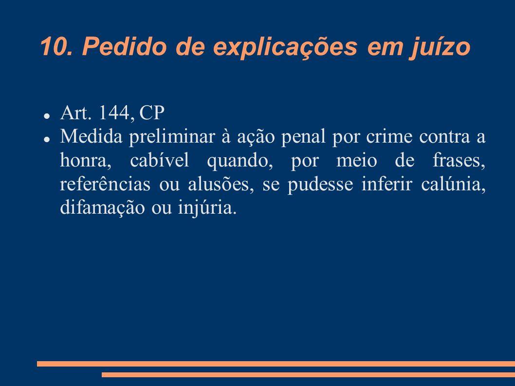 10. Pedido de explicações em juízo