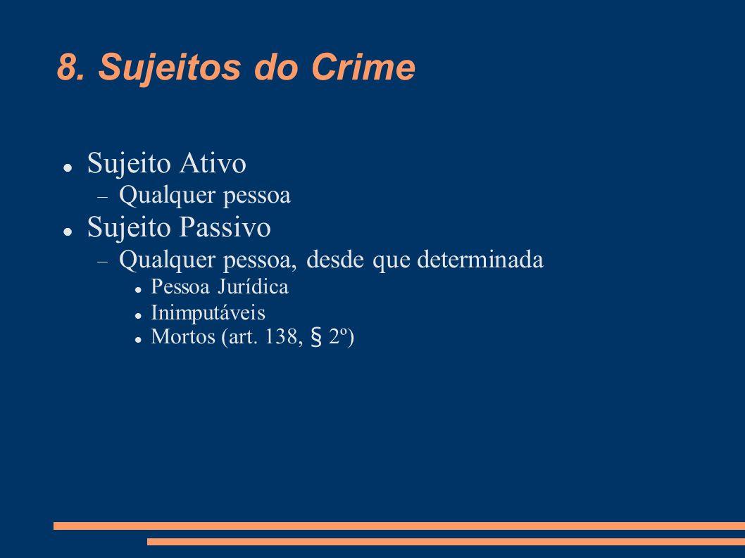 8. Sujeitos do Crime Sujeito Ativo Sujeito Passivo Qualquer pessoa