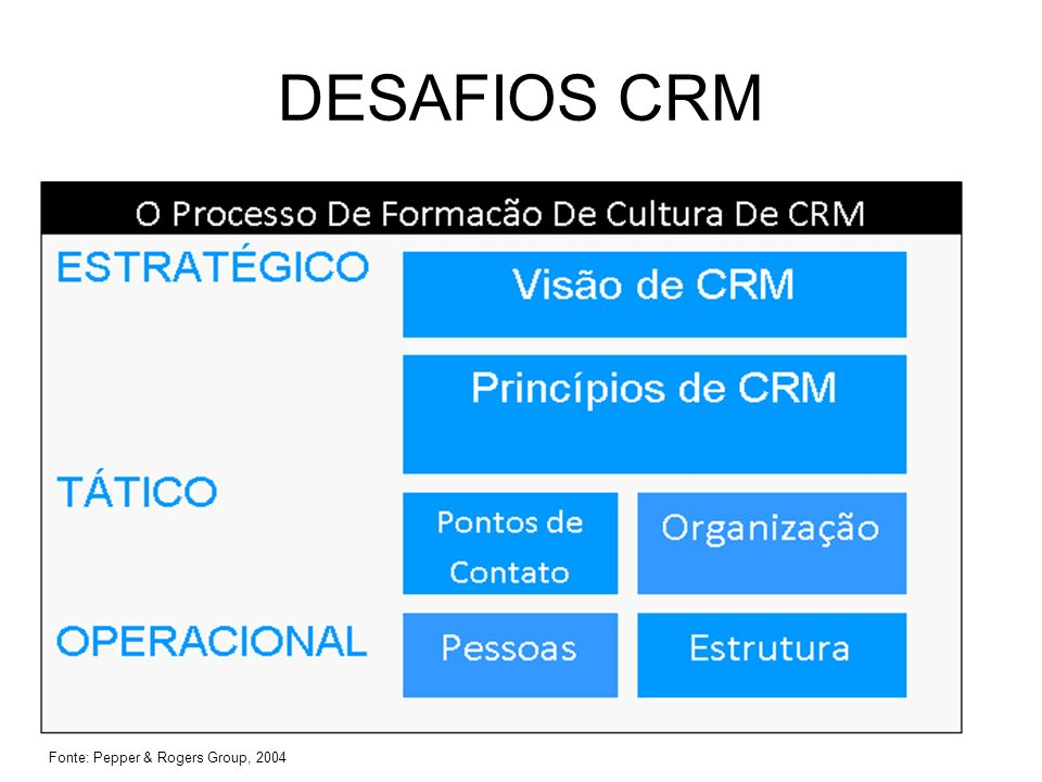 DESAFIOS CRM Fonte: Pepper & Rogers Group, 2004