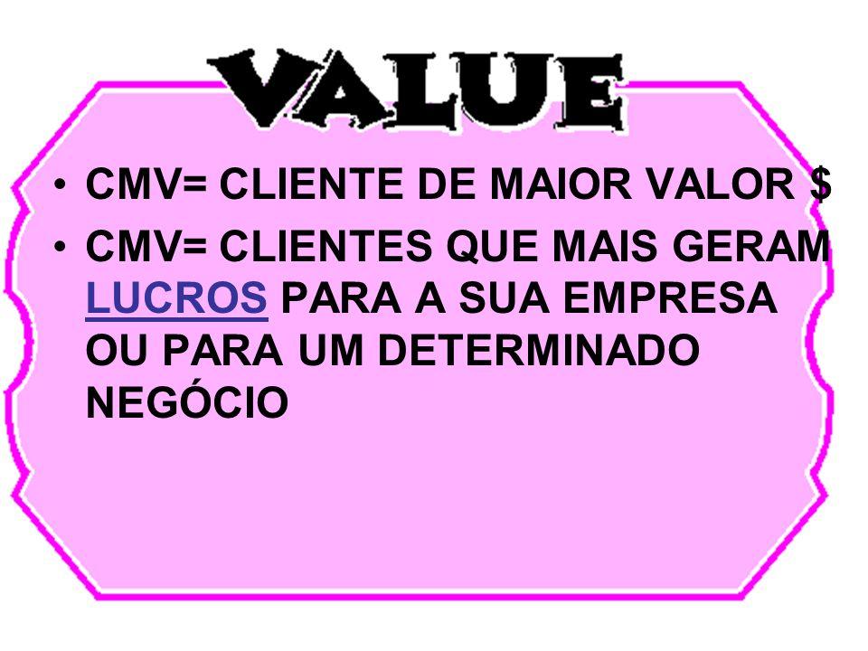 CMV= CLIENTE DE MAIOR VALOR $