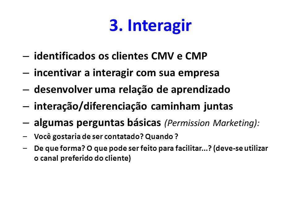 3. Interagir identificados os clientes CMV e CMP
