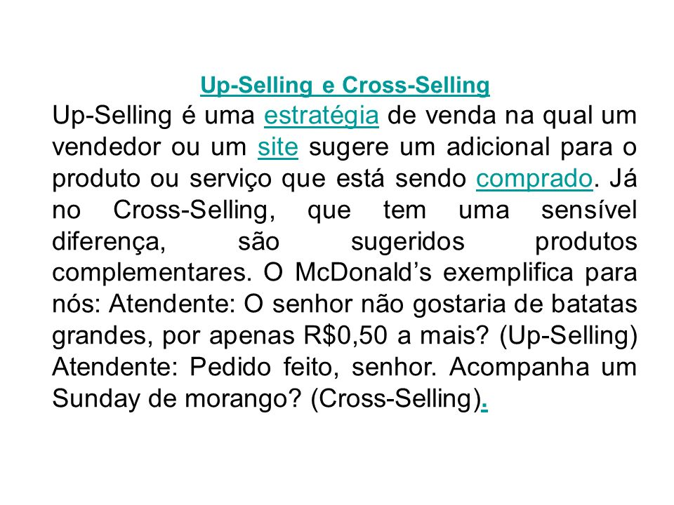 Up-Selling e Cross-Selling