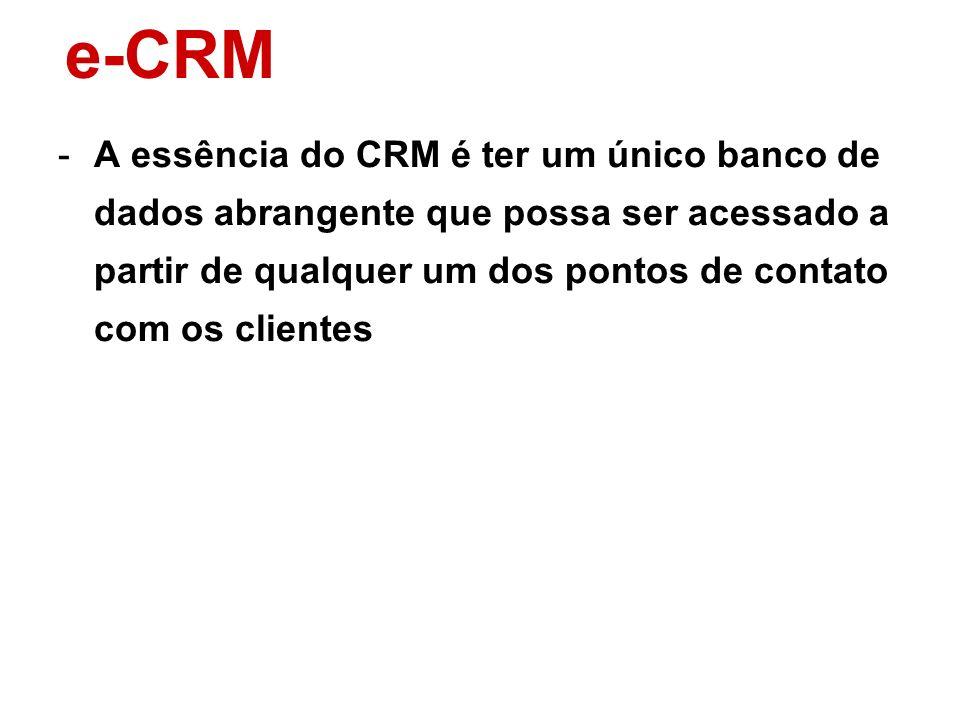 e-CRMA essência do CRM é ter um único banco de dados abrangente que possa ser acessado a partir de qualquer um dos pontos de contato com os clientes.