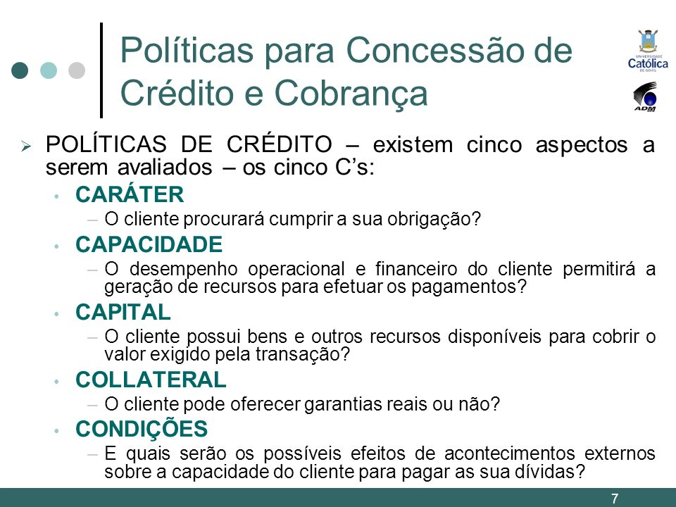 Políticas para Concessão de Crédito e Cobrança