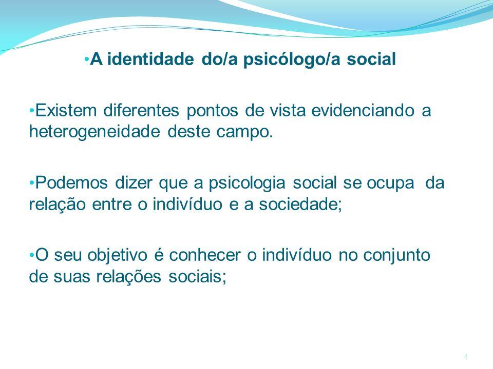 A identidade do/a psicólogo/a social